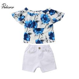 $enCountryForm.capitalKeyWord Australia - Newest Kids Baby Girls Clothes Set Floral Print Off Shoulder Ruffles Shirt Tops White Crippled Short Toddler Outfits Summer Set