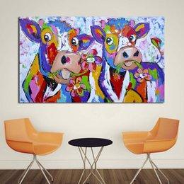 1 панель холст искусство красочные корова живопись спальня декор стены картина маслом печать хороший настенный рисунок для гостиной без рамки