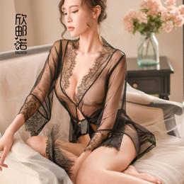 bf2a0c27f0 see through nightgown woman 2019 - Sexy Transparent Intimates Women Floral  Robe See Through Kimono Eyelash