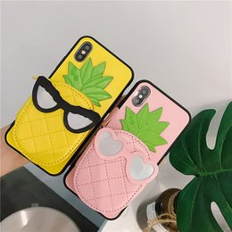 $enCountryForm.capitalKeyWord Canada - Pineapple Leather Wallet Holster Phone Case Cute Exchange Earphone Bag Bracket Cover Shell Inbuilt Cosmetic Makeup Mirror for iPhone X 6s 7