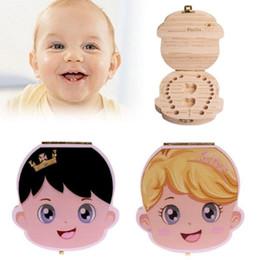 english language 2018 - Wooden baby Tooth box Organizer Save Deciduous Milk Teeth Storage English Language Tooth Box Organizer Milk Tooth Storag