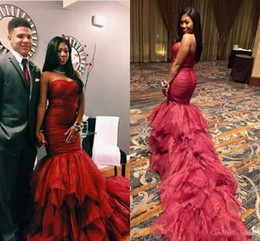 formal africa dresses 2018 - 2018 Africa Burgundy Mermaid Prom Dresses Cascading Ruffles Sweet Heart Long Evening Formal Party Gowns Plus Size Vestid
