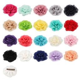 $enCountryForm.capitalKeyWord Australia - 30pcs lot 20colors 8.5cm Chiffon Petals Poppy Flower Hair Clips Rolled Rose Fabric Hair Flowers For Kids Girls Hair Accessories
