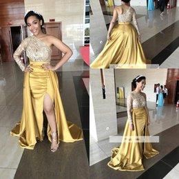 cbcec7e9a6424 One shOulder evening tOps online shopping - 2018 Elegant One Shoulder Satin  Split Long Prom Dresses