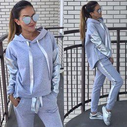 Pink Sweat Pants NZ - 2Pcs Tracksuit Set Women Hoodies Hooded Tops Cotton Long Sleeve Sweatshirt+Sweat Long Pant Suit Autumn Winter 2pcs Outfit Suit
