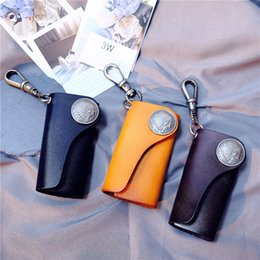 Japanese models female online shopping - Pure Leather Multi Color Handmade Key Bag Import Tanned Retro Car Key Wallet Indian Head Male And Female Models Japanese Style Free DHL H30F