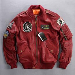 Discount genuine leather collars - Avirex fly flight jacket men plant tranned goatskin badge pilot leather bomber jacket red genuine leather coat men XXXL