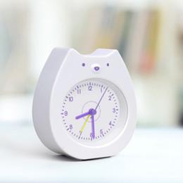 Decorative Cartoon Design Australia - LED Alarm Clock Kids Modern Design Cartoon Table Clock Night Light Decorative Children Room White Bear Student Desk Watch Silent