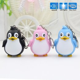 Wholesale Children s toy penguin shaped LED key chain creative flashlight pendant mall promotional gift YK1079 DHL free freight