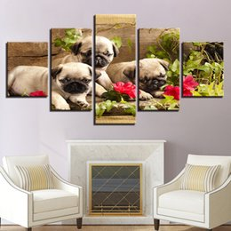 Canvas Photo Prints Australia - Artwork Framework Photo Printing 5 Panel Animal Dogs Canvas Painting Poster Wall Modular Pictures For Living Kids Room Decorative