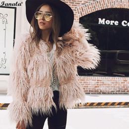 Pink Faux Fur Leather Jacket NZ - FANALA Fluffy Faux Fur Coat Women 2018 Warm Chic Female Outerwear Jacket Black Pink Autumn Winter Jacket Coat Party Overcoat 30 D18110805