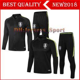 Korea suit man online shopping - 2018 South Korea Soccer Tracksuit Set Kit Black Football Jacket Training Suit Survetement Chandal Custom Name S Y KI H M SON