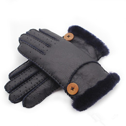white leather mittens UK - Wholesale -  New Warm winter ladies leather gloves real wool women 100% free shipping