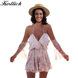31c59e63387a Kostlich Sexy V-Neck Tie Up Bohemian Sequin Beach Playsuit Off Shoulder  Summer Rompers Womens Jumpsuit Shorts Casual Overalls