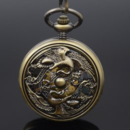 self winding pocket watch Canada - Two Red-crowned Crane Auto Self Wind Mechanical Pocket Watch Skeleton Roman Number Men Women Vintage Luxury Xmas Gift