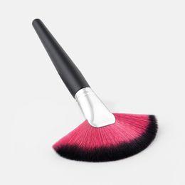 Hair Fans UK - Large Slim Fan Shape Soft Nylon Hair Makeup Brush Foundation Loose Powder Blush Contour Brush Multi-function Cosmetics Brush