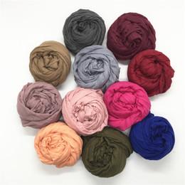 $enCountryForm.capitalKeyWord Australia - New plain women scarf scarves crinkled shawl solid soft viscose bandana cotton muslim hijabs wraps 10pcs lot free shipping