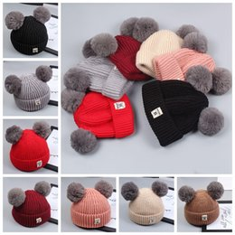 ffb197ba378fe Baby knit hat Rabbit fur ball wool caps headgear hat Autumn and winter new  children s double lazy rabbit fur hat GGA844