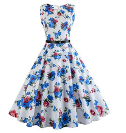 Chinese  women print dress Elegant Print O Neck Party Work Office Dress Retro Casual Floral Dress manufacturers