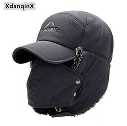 XdanqinX Men s Ear Protection Face Bomber Hats Thicker Plus Velvet Warm  Woman Winter Hat Resist The Snow Male Bone Cap Ski Hat 78b877f46f9
