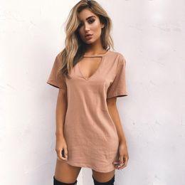 08b9663484f7d Denim Dresses plus size clothing online shopping - Sexy Deep V Collar Short  Sleeved Women Clothes