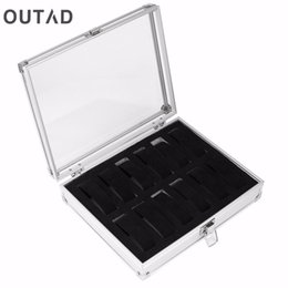 Wholesale Jewelry Watches Boxes Casket Grid Slots Silver Display Square Case Aluminium Suede Inside Container Holder Organizer