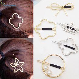 Flower Hair Clip Vintage Australia - gootrades Gilr Hairpin Vintage Metal Crown Bowknot Four-leaf Grass Flower Star Hair Clip
