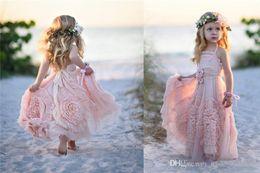 Cute Girls Halter Dresses NZ - Cute Pink Flower Girls Dresses for Wedding A-Line Halter Backless Lace Appliques Ruffles Flowers Floor Length Kids Girl Pageant Gowns Custom