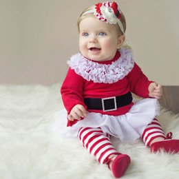 $enCountryForm.capitalKeyWord NZ - Hot!! Baby Girls Clothing 12 months Christmas Sets Costumes Outfits Cotton Baby Girl 2pcs Set Long Sleeve Red Lace Dresses Bow Striped Pants