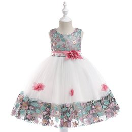 Ankle Length High Neck Wedding Dresses UK - baby girl dresses 2019 Fashion Princess Dresses High-grade Lace Flower Wedding Dresses Dance Performance Costume Kids girls Ball Gowns