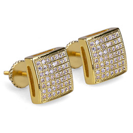 Curved stud earrings online shopping - 14K Gold Plated Hip Hop Micro Paved CZ Square Curved Back Screw Back Stud Earring for Men Women