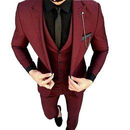 $enCountryForm.capitalKeyWord UK - Hot Selling One Button Wine Groom Tuxedos Peak Lapel Groomsmen Mens Wedding Business Prom Suits (Jacket+Pants+Vest+Tie) NO:1334