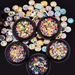 $enCountryForm.capitalKeyWord Canada - 1 Box Nail Rhinestones Colorful Mix Acrylic Diamond Pearl Shells Alloy Metal Frame DIY 3D Nail Art Decoration