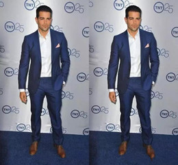 navy blue tuxedos for cheap Australia - Cheap Royal Blue Slim Fit Tuxedo For Groom Exquisite Mens Party Suits Mens Formal Prom Suits (Jacket+Pants)