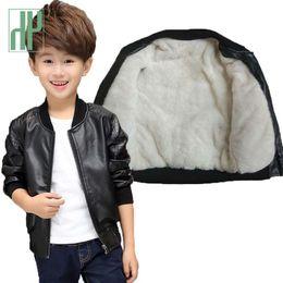 $enCountryForm.capitalKeyWord NZ - HH Boys coat PU leather jackets children Warm Woolen Coats Kids Casual Thick Parkas Fleece jacket for boy clothes 12 years