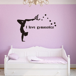 switch girl cartoon NZ - I love Gymnastics Wall Stickers Dancing Girl Decorative Wallpapers Living Room Decoration Bedroom Art Decals Switch Sticker