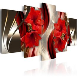 $enCountryForm.capitalKeyWord UK - Amosi Art Red Lily Flowers Canvas Print Wall Art Painting Abstract Line Background Red Floral Artwork for Modern Home Living Decoration