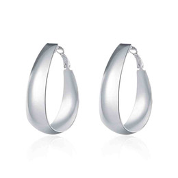 $enCountryForm.capitalKeyWord UK - New Wholesale Fashion silver plated earing Smooth Egg Shape hoop Earring silver plated Earrings hot sell SMTE018