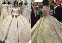 short ball gowns wedding dresses NZ - 2018 Real Dubai Arab Lace Ball Gown Weddings Dresses Applique Beads Plus Size Wedding Gowns Sweep Train Short Sleeve Boho Bridal Dress