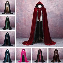 Großhandel Velvet Cape benutzerdefinierte Weihnachten Halloween Wizard Vampire Hexe Hochzeit Wicca mittelalterlichen Kapuze Wicca lange Robe Halloween Witchcraft