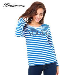 $enCountryForm.capitalKeyWord NZ - Hirsionsan Women T-shirt 2018 Spring Vogue Printed striped Cotton long sleeve T Shirt Casual O-neck femme fashion Tops Tees S18100903