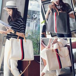 ee8a8ebbbed694 Wholesales big handbags online shopping - Casual Women Stripes Tote  Shoulder Bag Canvas Classic Simplicity Handbag