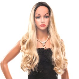 Discount synthetic blonde hair half wig - REAMIC Ash Blonde Long Wave Wig Heat Resistant Synthetic Ombre Wig for Women Hair Half Hand Tied Wig Party Wigs (Blonde