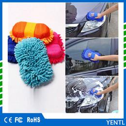 Chenille Towels Wholesale Australia - free shipping Random Color Super Car Wash Glove Hand Soft Towel Microfiber Chenille Car Cleaning Sponge Block Washing Supplies
