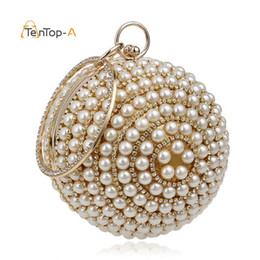 $enCountryForm.capitalKeyWord Australia - Drop Shipping Women's Round Ball Pearl Beaded Bag Diamond Tellurion Evening Bag Bridal Wedding Wrist Bag Clutches Purse YM1060 D18110106