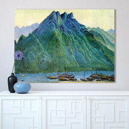 mountain home painting NZ - Wall Art Pictures For Living Room Chinese Landscape Painting Home Decor Mountains River Boat No Frame