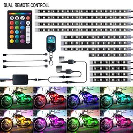 12Pcs Motorcycle LED Light Kit Strips Multi-Color Accent Glow Neon Ground Effect Atmosphere Lighting Lamp with Wireless Remote Controller