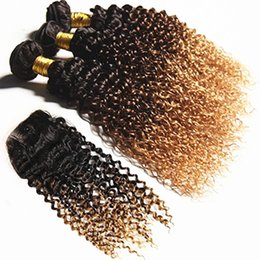 $enCountryForm.capitalKeyWord Australia - Kinky Curly 1B 4 27 3Bundles Extensions With Lace Closure Ombre Brown Blonde Human Hair Weft 3Pcs With Top Closure