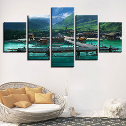 Panels Scenery Canvas Art Prints Australia - Canvas Painting Wall Art HD Print Scenery Pictures 5 Pieces Wooden Bridge Tropical Pier Boat Poster Modular Home Decor Framework