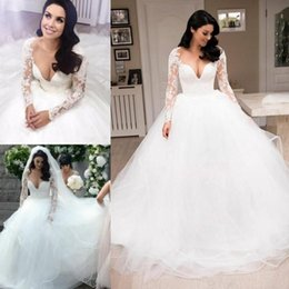 ball gown sheer top NZ - Sheer Neck Wedding Dresses Ball Gown Long Sleeve Lace Top Ruffles Tulle Skirt 2020 New Princess Style Bridal Gowns Custom Made